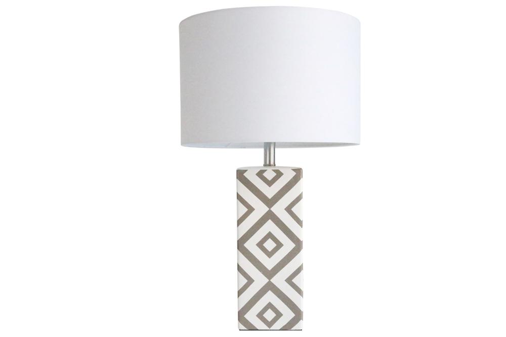 Keramiklampe  grau-weiß